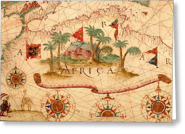 Nautical Chart Greeting Cards - Antique Map of the Mediterranean 1600 Greeting Card by Mountain Dreams