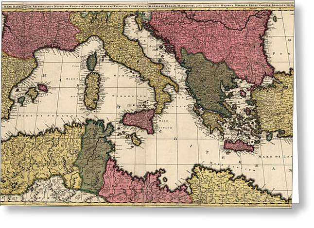 Mediterranean Greeting Cards - Antique Map of the Mediterranean by Gerard Valck - circa 1695 Greeting Card by Blue Monocle