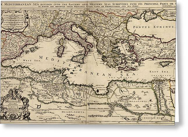 Mediterranean Greeting Cards - Antique Map of the Mediterranean Region by William Berry - 1685 Greeting Card by Blue Monocle