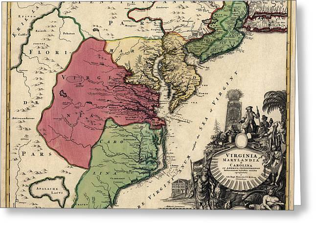Colonial Greeting Cards - Antique Map of the Middle American Colonies by Johann Baptist Homann - circa 1759 Greeting Card by Blue Monocle