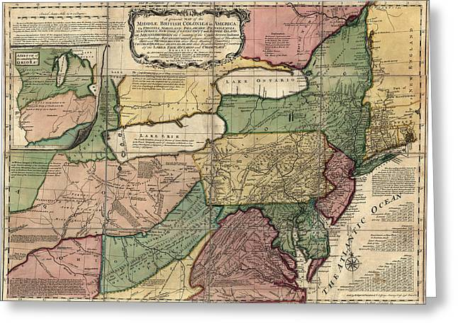 Thomas Drawings Greeting Cards - Antique Map of the Middle American Colonies by Thomas Jefferys - 1758 Greeting Card by Blue Monocle