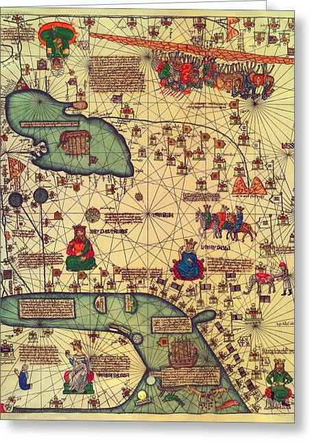 Mideast Greeting Cards - Antique Map of the Middle East 1375 Greeting Card by Mountain Dreams