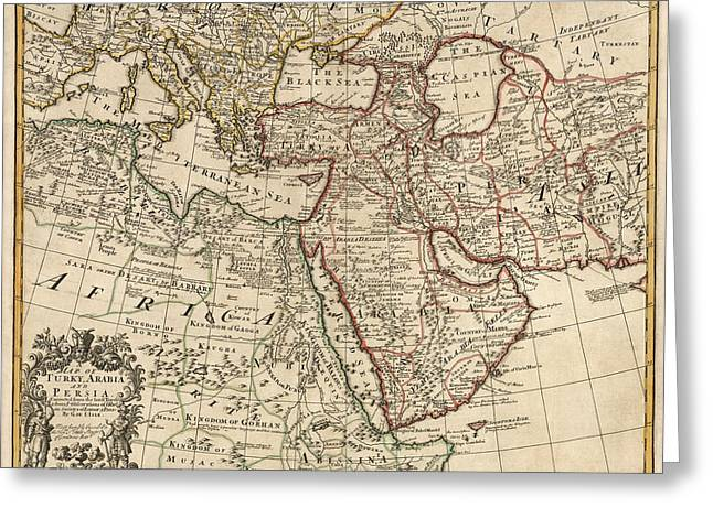 Middle East Greeting Cards - Antique Map of the Middle East by Guillaume Delisle - 1721 Greeting Card by Blue Monocle