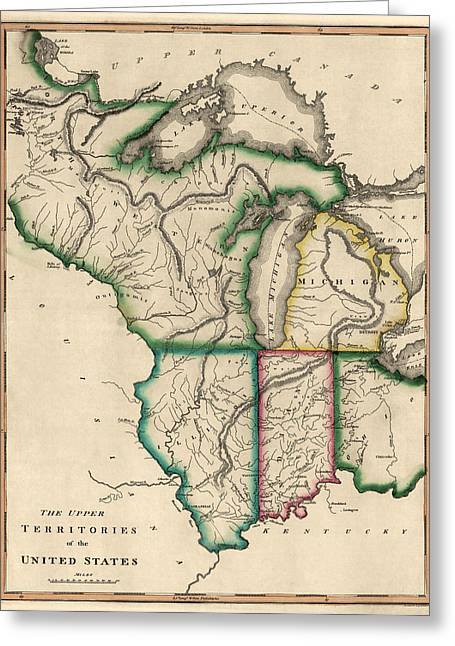 Midwest Greeting Cards - Antique Map of the Midwest US by Kneass and Delleker - circa 1810 Greeting Card by Blue Monocle