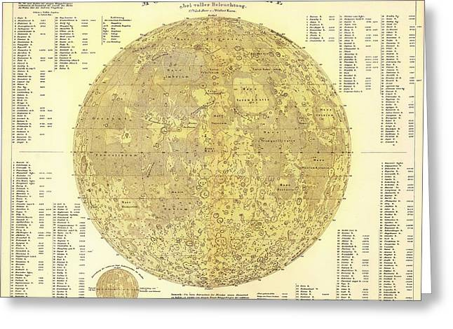 1880s Greeting Cards - Antique Map of the Moon Greeting Card by Mountain Dreams