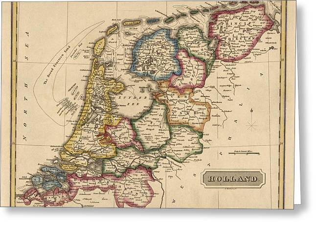Netherlands Greeting Cards - Antique Map of the Netherlands by Fielding Lucas - circa 1817 Greeting Card by Blue Monocle