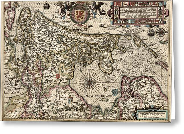 Netherlands Greeting Cards - Antique Map of the Netherlands by Pieter van den Keere - 1617 Greeting Card by Blue Monocle