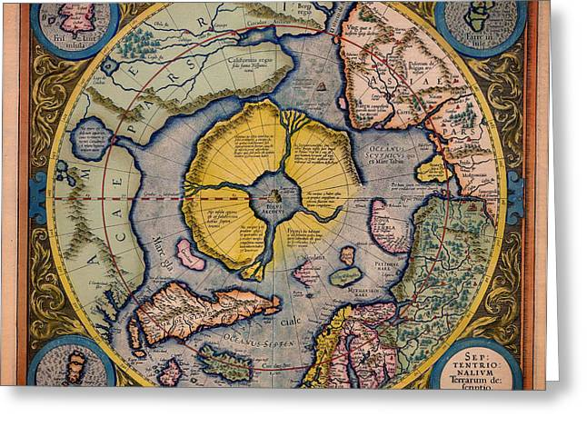 North Sea Drawings Greeting Cards - Antique Map of the North Pole 1623 Greeting Card by Mountain Dreams