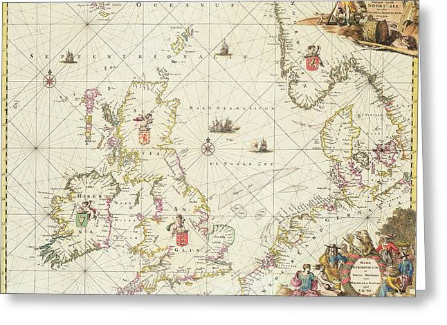 Border Drawings Greeting Cards - Antique Map of the North Sea Greeting Card by Frederick de Wit
