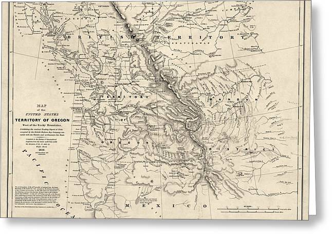 British Columbia Greeting Cards - Antique Map of the Pacific Northwest by Washington Hood - 1838 Greeting Card by Blue Monocle