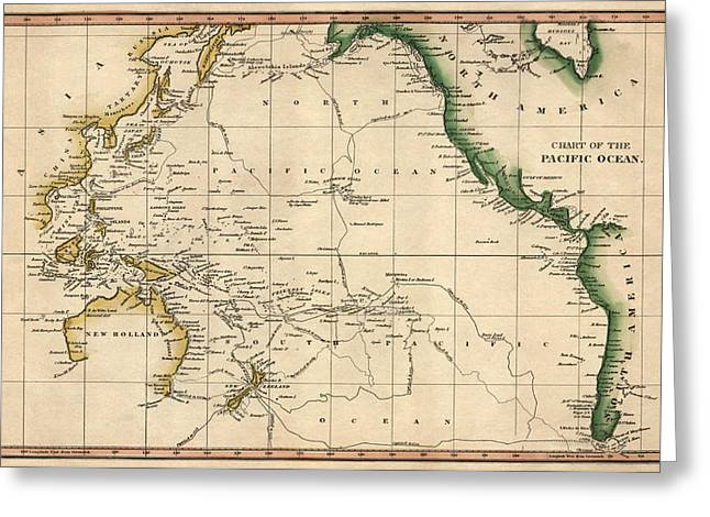 Pacific Greeting Cards - Antique Map of the Pacific Ocean by Henry Schenck Tanner - circa 1820 Greeting Card by Blue Monocle