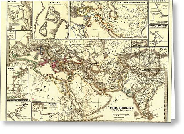 Persian Illustration Greeting Cards - Antique Map of the Persian Empire Greeting Card by Mountain Dreams