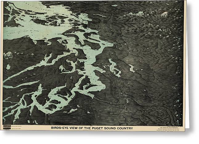 Puget Sound Greeting Cards - Antique Map of the Puget Sound Washington by Charles H. Baker and Co. - 1891 Greeting Card by Blue Monocle