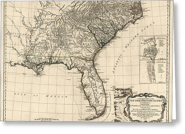 Alabama Drawings Greeting Cards - Antique Map of the Southeastern United States by Bernard Romans - 1776 Greeting Card by Blue Monocle