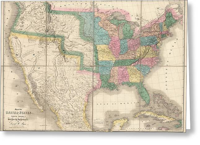 United States Drawings Greeting Cards - Antique Map of the United States by David Burr - 1839 Greeting Card by Blue Monocle