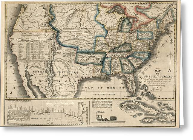 United States Drawings Greeting Cards - Antique Map of the United States by M. M. Peabody - 1831 Greeting Card by Blue Monocle