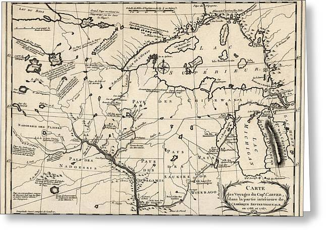 Chicago Drawings Greeting Cards - Antique Map of the Upper Midwest US  and Great Lakes by Benard - circa 1768 Greeting Card by Blue Monocle