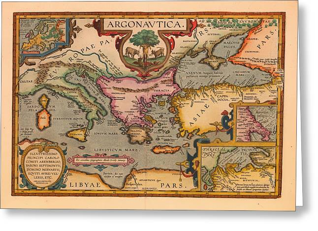 Nautical Chart Greeting Cards - Antique Map of the Voyage of the Argonauts 1620 Greeting Card by Mountain Dreams