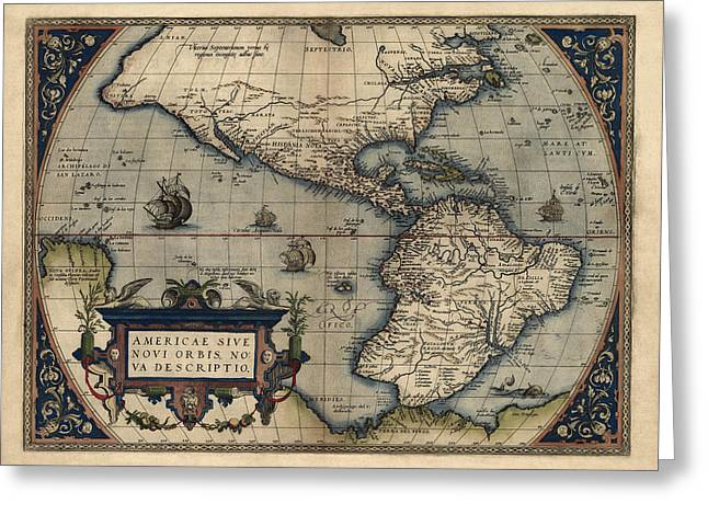 Western Western Art Greeting Cards - Antique Map of the Western Hemisphere by Abraham Ortelius - 1570 Greeting Card by Blue Monocle