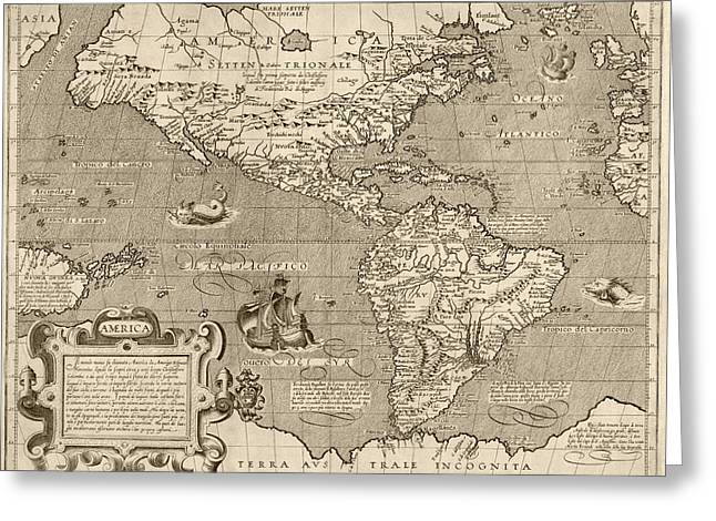 Western Western Art Greeting Cards - Antique Map of the Western Hemisphere by Arnoldo di Arnoldi - circa 1600 Greeting Card by Blue Monocle