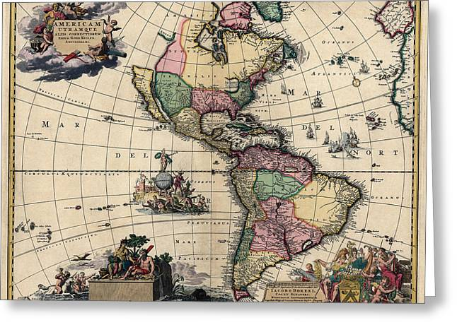 Westerns Drawings Greeting Cards - Antique Map of the Western Hemisphere by Gerard van Keulen - circa 1710 Greeting Card by Blue Monocle