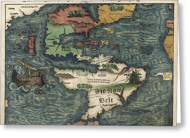 Western Western Art Greeting Cards - Antique Map of the Western Hemisphere by Sebastian Munster - circa 1550 Greeting Card by Blue Monocle