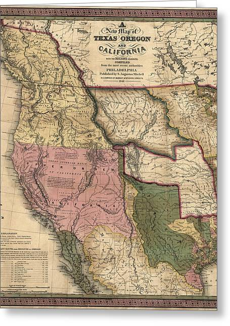 Augustus Greeting Cards - Antique Map of the Western United States by Samuel Augustus Mitchell - 1846 Greeting Card by Blue Monocle
