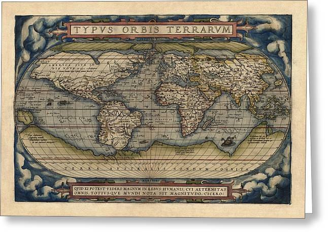 Old World Greeting Cards - Antique Map of the World by Abraham Ortelius - 1570 Greeting Card by Blue Monocle