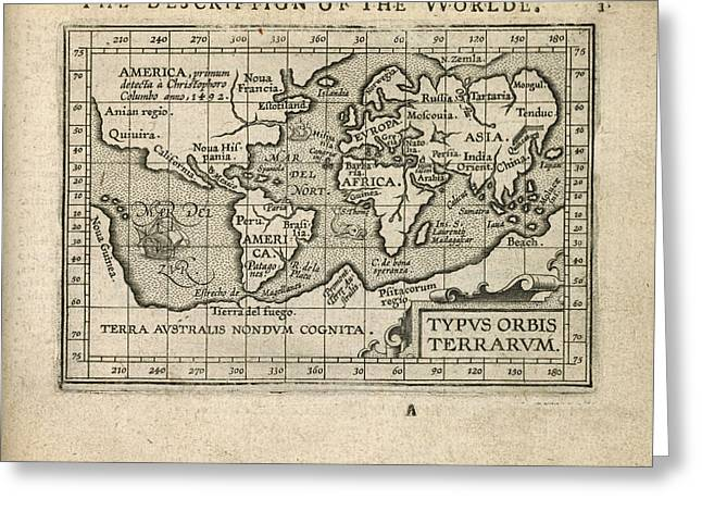 Old World Greeting Cards - Antique Map of the World by Abraham Ortelius - 1603 Greeting Card by Blue Monocle