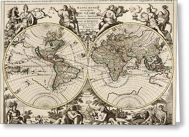 Antique Map Of The World By Alexis Hubert Jaillot - 1694 Greeting Card by Blue Monocle