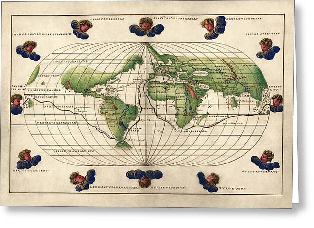 Old World Greeting Cards - Antique Map of the World by Battista Agnese - circa 1544 Greeting Card by Blue Monocle