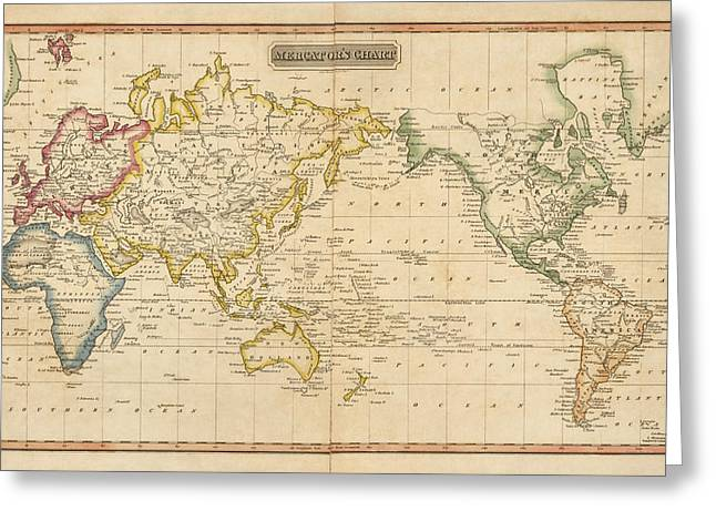 World Map Print Drawings Greeting Cards - Antique Map of the World by Fielding Lucas - circa 1817 Greeting Card by Blue Monocle