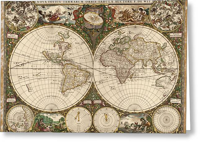 World Map Print Drawings Greeting Cards - Antique Map of the World by Frederik de Wit - 1660 Greeting Card by Blue Monocle