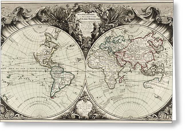 Old World Greeting Cards - Antique Map of the World by Gilles Robert de Vaugondy - 1743 Greeting Card by Blue Monocle