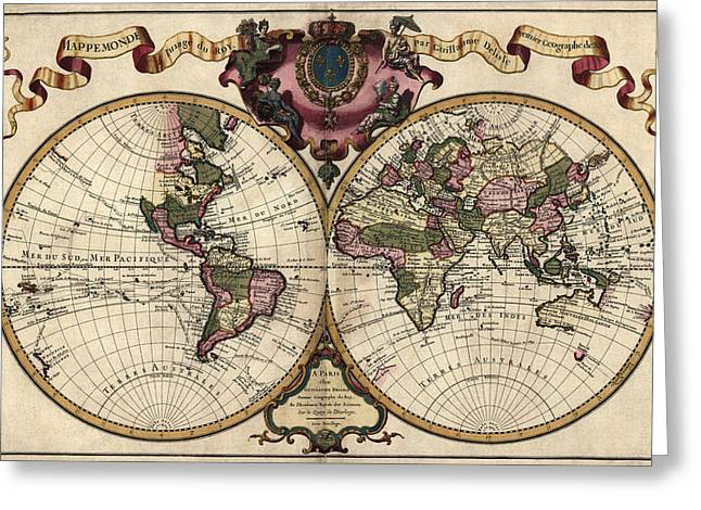 Old World Greeting Cards - Antique Map of the World by Guillaume Delisle - 1720 Greeting Card by Blue Monocle
