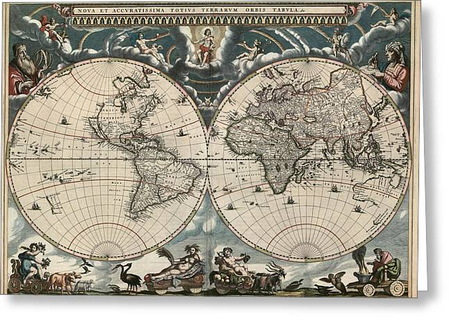 Old World Greeting Cards - Antique Map of the World by Joan Blaeu - 1664 Greeting Card by Blue Monocle