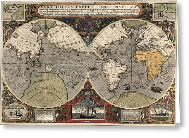Maps Greeting Cards - Antique Map of the World by Jodocus Hondius - circa 1565 Greeting Card by Blue Monocle
