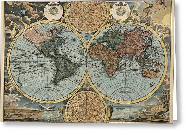 Baptist Greeting Cards - Antique Map of the World by Johann Baptist Homann - circa 1716 Greeting Card by Blue Monocle