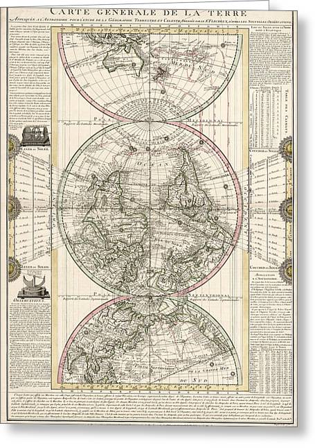 Old-world Greeting Cards - Antique Map of the World by M. Flecheux - 1782 Greeting Card by Blue Monocle