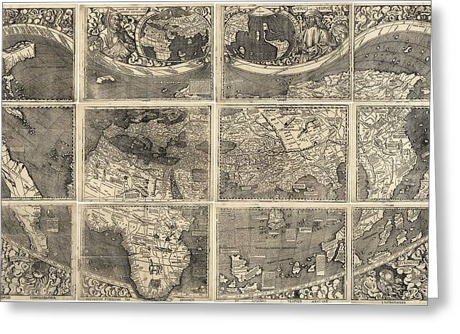 Old World Greeting Cards - Antique Map of the World by Martin Waldseemuller - 1507 Greeting Card by Blue Monocle