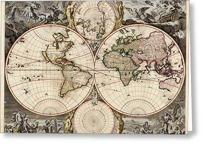 Old World Greeting Cards - Antique Map of the World by Nicolaes Visscher - circa 1690 Greeting Card by Blue Monocle