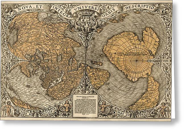 Maps Greeting Cards - Antique Map of the World by Oronce Fine - 1531 Greeting Card by Blue Monocle