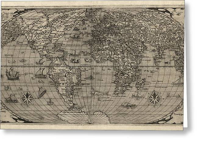 Old World Greeting Cards - Antique Map of the World by Paolo Forlani - 1560 Greeting Card by Blue Monocle