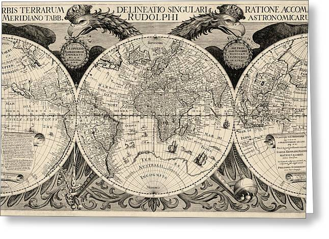 Old-world Greeting Cards - Antique Map of the World by Philipp Eckebrecht - 1630 Greeting Card by Blue Monocle