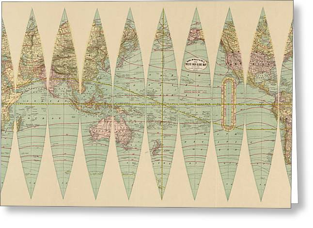 World Map Print Drawings Greeting Cards - Antique Map of the World by Rand McNally and Company - 1887 Greeting Card by Blue Monocle