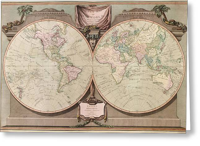 Old World Greeting Cards - Antique Map of the World by Robert Laurie and James Whittle - 1808 Greeting Card by Blue Monocle