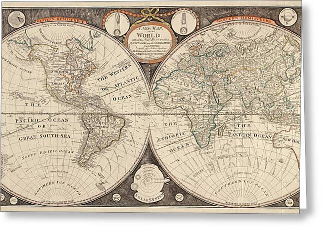 Antique Map Of The World By Thomas Kitchen - 1799 Greeting Card by Blue Monocle