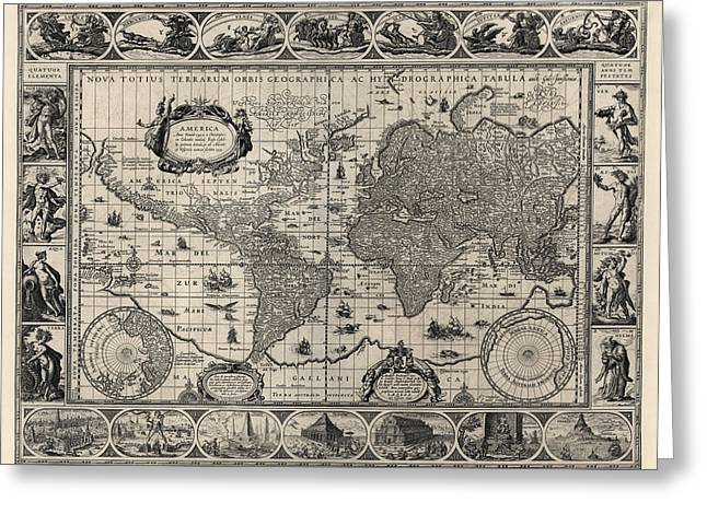 Old World Greeting Cards - Antique Map of the World by Willem Janszoon Blaeu - 1606 Greeting Card by Blue Monocle