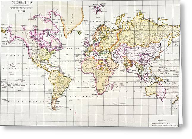 Vintage Map Paintings Greeting Cards - Antique Map Of The World Greeting Card by James The Elder Wyld