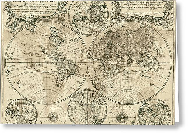 Vintage Map Digital Art Greeting Cards - Antique Map of the World Greeting Card by Serge Averbukh